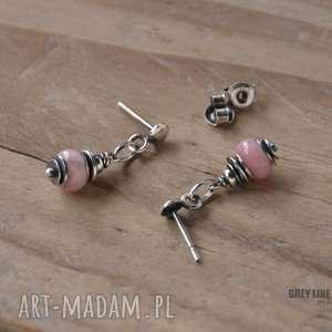 różowy peruwiański opal - kolczyki na wkrętkach, srebro, opal, peruwiański