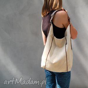 na ramię furia - torba worek ecru i brąz, worek, wygodna, swobodna, niebanalna