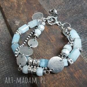 ręcznie wykonane bransoletka srebrna z akwamarynami