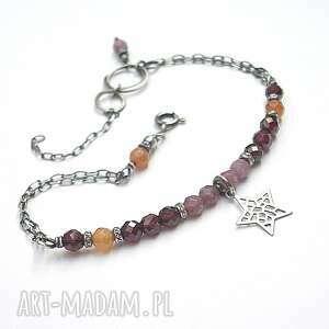 Autumn /star/ - bransoletka, granaty, turmaliny, awenturyny, srebro, oksydowane