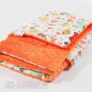 kocyk minky - pomarańczowy kemping - 75x100 cm - kocyk, kołderka, minky