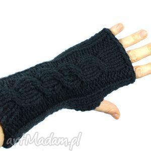 grafitowe z warkoczem - zima, rękawiczki, bezpalczatki, ręka, mitenki