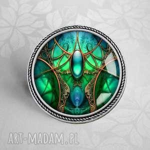 Prezent SZMARADGOWA KOMNATA - BROSZKA ARTYSTYCZNA, srebrna, zielona, modna, modny