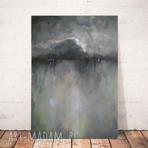 MORZE -obraz akrylowy formatu 30/40cm, morze, łodzie, obraz, akryl