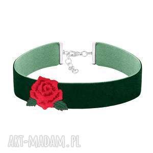 zielony choker z różą - folk - róża aksamit