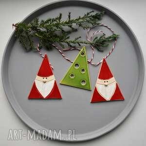 ręczne wykonanie upominek świąteczny ozdoby choinkowe - zestaw ozdób świątecznych 3 szt