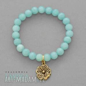jade with pendant in mint - zawieszka, kwiatek