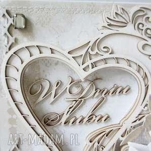 Ślubna kartka w pudełku, ślub, życzenia, gratulacje, rocznica