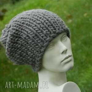 hand made czapki 100% wełna syberianka brunatna unisex zimowa czapka