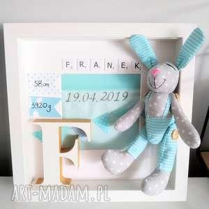 ręcznie zrobione pokoik dziecka metryczka z króliczekiem haft