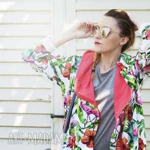 Długa bluza oversize z motywem tropikalnym, ogromny kaptur, flamingi, ananasy xs