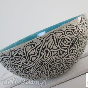 turkusowa duża artystyczna misa, miska, turkusowa, ceramiczna, dekoracyjna, misa