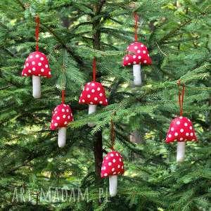 handmade prezent ozdoba choinkowa muchomor duże kropki, 3 szt