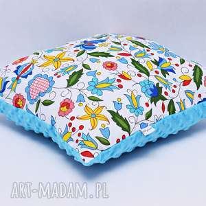 uszyciuch poduszka kaszubska z błękitnym minky, poduszka