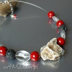 naszyjnik z surowym agatem - naszyjnik, kamienie, agat, matmur, lawa, szklane