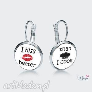 kolczyki wiszące i kiss better, śmieszny, napis, kucharz, gotowanie, pocałunek