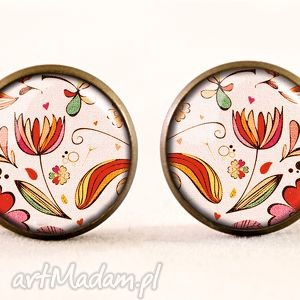 handmade kolczyki vintage flowers - kolczyki sztyfty