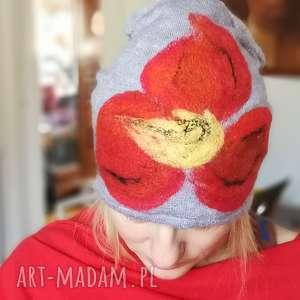 czapka wełniana damska szara z kwiatem, wełna, kwiaty, czapka, zima, narty, ciepła