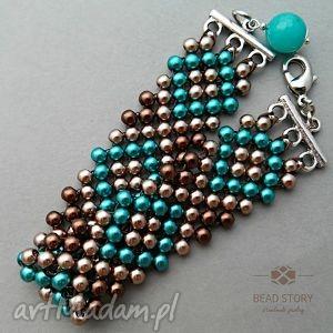 bransoletka z perełek nr1, perełki, perły, szkło, koraliki
