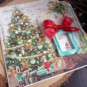 skrzaty 2 boże narodzenie, ramka, kartka świąteczna