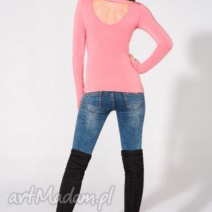 bluzki bluzka z odkrytymi plecami, t149, różowa, bluzka, dzianina, wiskoza