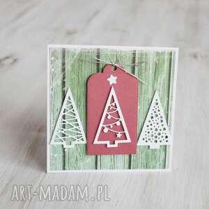 kartka świąteczna - 3 choinki po godzinach - białe, boże narodzenie