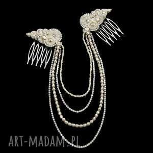 ślubna ozdoba do włosów reniro ivory soutache, rękodzieło, oryginalna, ślub