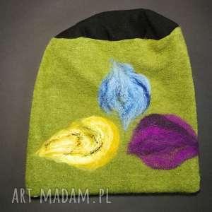 Czapka wełniana filcowana zielona zimowa handmade czapki ruda