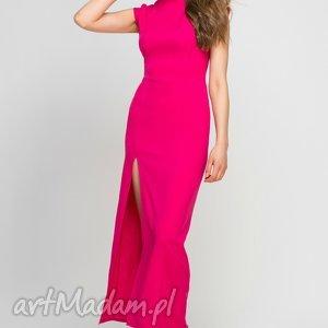 sukienki sukienka maxi z rozcięciem, suk140 fuksja, maxi, amarant, wieczorowa