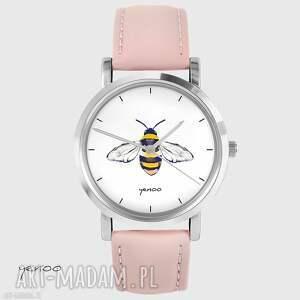 ręczne wykonanie zegarki zegarek - pszczoła skórzany, pudrowy