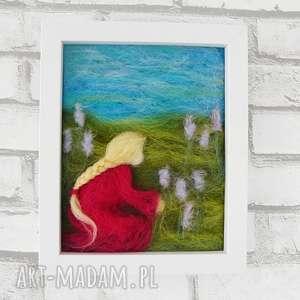 wiosenna łąka - dekoracja, kwiaty, wiosna, obraz, filc