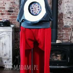 czerwone spodenki ze spódniczką, spodenki, krótkie, spódnico-spodnie, bawełniane