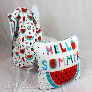 poduszka summer arbuzy 46x46 - poduszka, dekoracyjna, pościel, arbuz, dziecko, minky