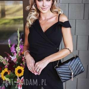 sukienki czarna elegancka sukienka bez rękawów, asymetryczna