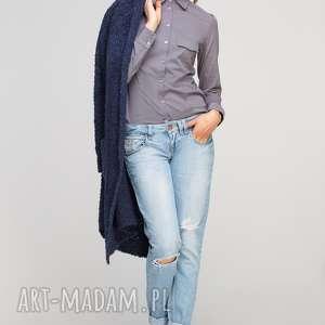Klasyczna koszula, k106 szary bluzki lanti urban fashion casual