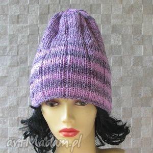 oversized slouchy beanie ręcznie robiona lawenda czapka, lekka, kobieta fashion