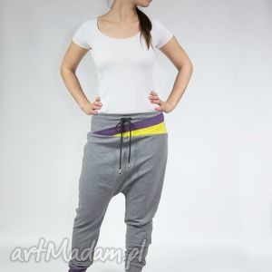spodnie allyce - dres szare trójkąty, ciążowe, taniec, yoga, zumba, bawełna, baggy