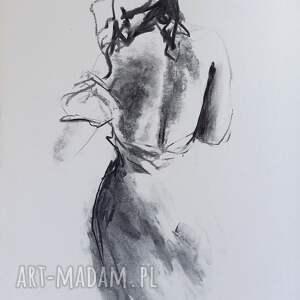 dom szkic kobiety 30x40, obraz do salonu, akt grafika, grafika postać