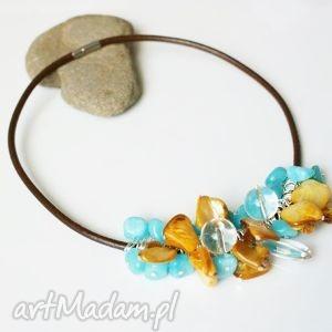 hand-made naszyjniki naszyjnik skórzany z koralikami