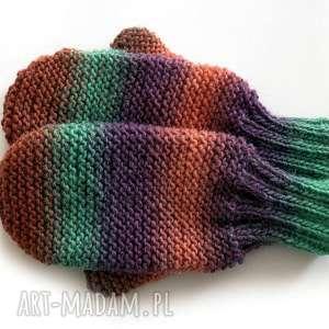 wełniane rękawiczki, rękawice, dziergane, wełniane, jednopalczaste