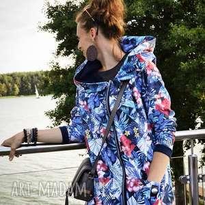 długa bluza oversize print wzor tropikalny ogromny kaptur, wzór tropikalny, z