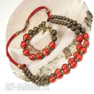 kobiecy komplet z korala c572 - biżuteria z korala, naszyjnik z korala, bransoletka z