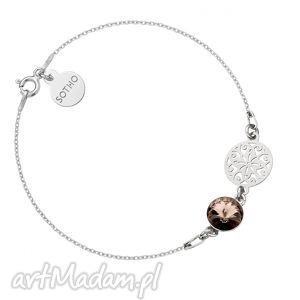 srebrna bransoletka z rozetą i kryształem swarovski crystal, bransoletka, modna