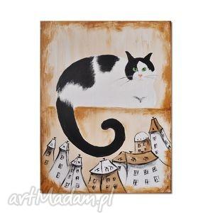 kot czarno-biały, nowoczesny obraz ręcznie malowany, kot, obraz, ręcznie