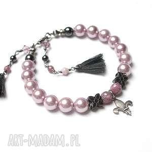 Perłowa lilijka - bransoletka, perły, majorka, hematyty, srebro, rubiny, turmaliny