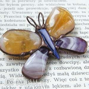 broszki broszka i wisior 2 w 1 motyl cytrynowo-fioletowy, z wisiorkiem