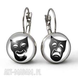 hand-made kolczyki maski teatralne - małe kolczyki wiszące