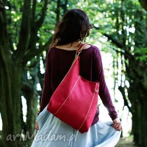 furia - torba worek - czerwona - worek, pojemna, praktyczna, wygodna, miejska, alkantara
