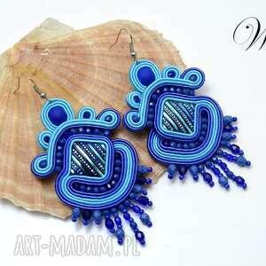 kolczyki sutasz niebiesko turkusowe, kolczyki, sutasz, eleganckie, modne