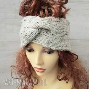 szeroka opaska turban podwójnie robiona handmade beż tweed, gruba opaska